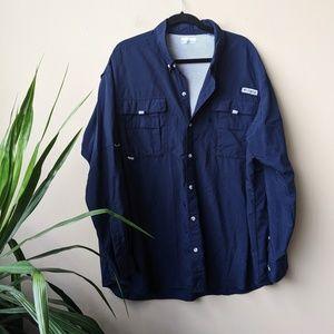 Columbia PFG Bahama II Long Sleeve Navy Shirt XXL